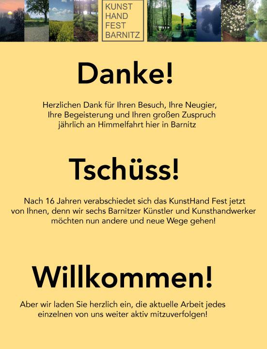 KunstHandFest Barnitz 2019 Abschiedsplakat