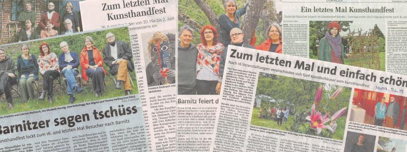 KunstHandFest Barnitz 2019 Presseberichte