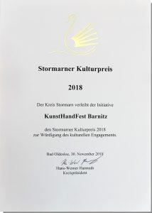 Urkunde Stormarner Kulturpreis 2018 KunstHandFest Barnitz